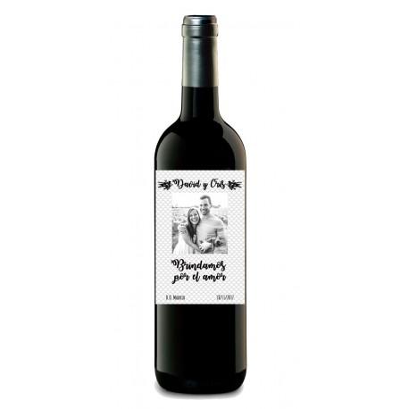 fractura Comunismo lechuga  Botella personalizada de vino - Diseño de etiqueta con foto en pareja
