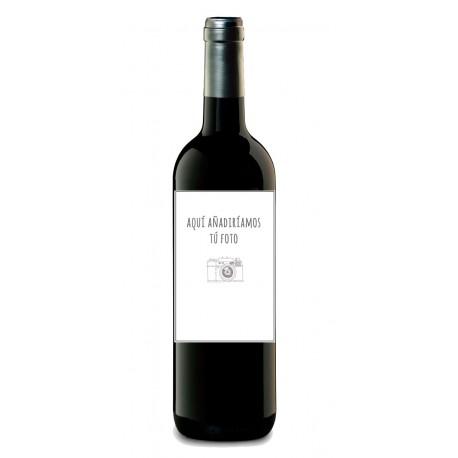 Botella de vino personalizada con TU FOTO