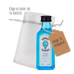Botellita de Bombay Sapphire personalizada para detalle de evento