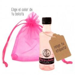 Botellita en Miniatura ginebra Puerto de Indias Rosa personalizada
