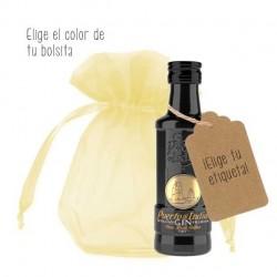 Mini ginebra Puerto de Indias con etiqueta y bolsa para regalo