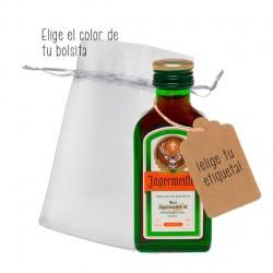 Personaliza mini botellas de jagermeister para regalar a los invitados de boda o fiesta