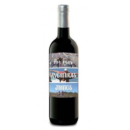 """Botella de vino personalizada con fotos tuyas """"AVENTURAS"""""""