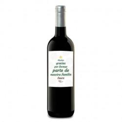 """Botella de vino con etiqueta personalizada""""AGRADECIMIENTO NAVIDAD EMPRESA"""""""