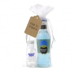 Kit vodka absolut y tonica nordic azul para bodas