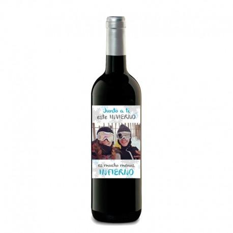 """Botella vino """" ESTE INVIERNO JUNTO A TI"""""""