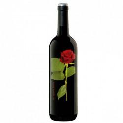 Botella de vino personalizada con una rosa