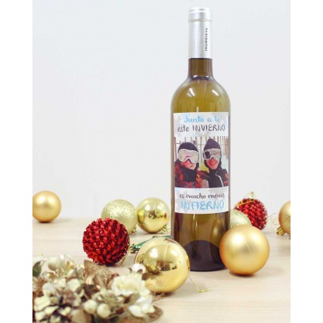 botella vino blanco personalizada para navidad nieve