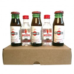 Caja con mini botellas de martini y ginebra