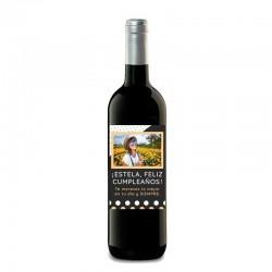 """Botella vino tinto """"FELIZ CUMPLEAÑOS"""" vino blanco"""