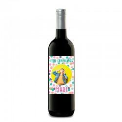 """Botella vino """"CUMPLEAÑOS PUNTITOS"""""""
