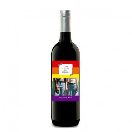 "Botella vino tinto ""ORGULLO LGTB"""