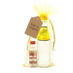 Mini botellita de ginebra Beefeater y tónica Schweppes personalizado para regalar en boda