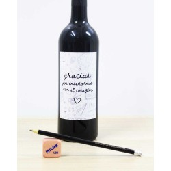 regalo profesor vino personalizado con mensaje en la botella