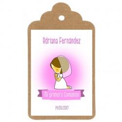 diseño mi primera comunion niña etiqueta personalizada