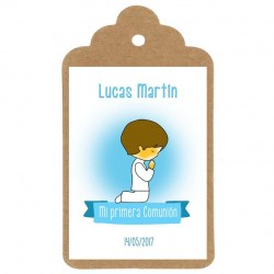 Etiqueta mi primera comunion niño diseño personalizado