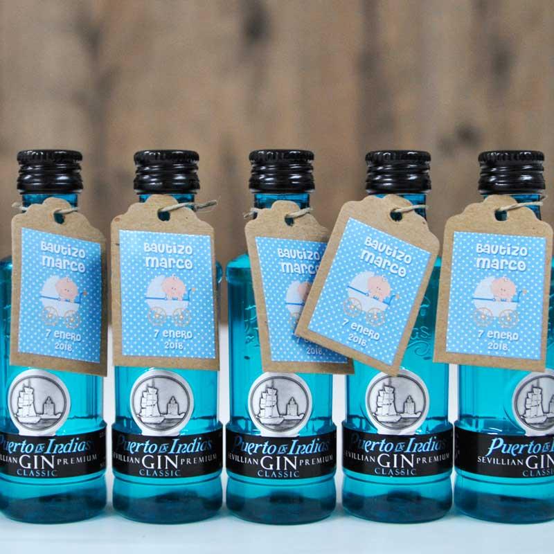 Bonitas botellitas de ginebra premium para dar como detalle en bautizos