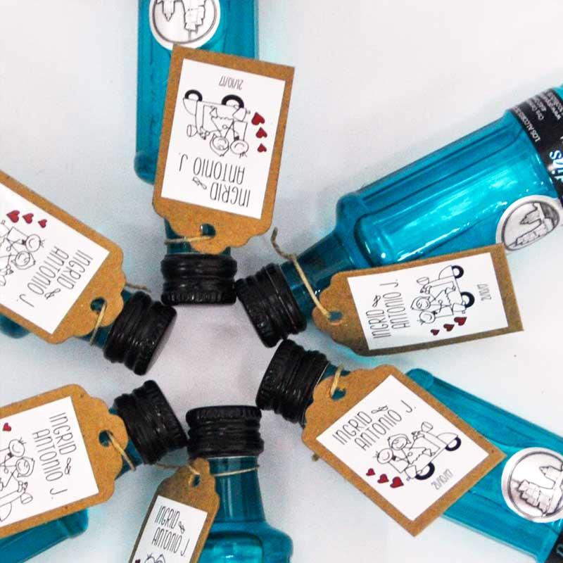 Mini ginebra Puerto de Indias Clásico (azul) para regalar en eventos