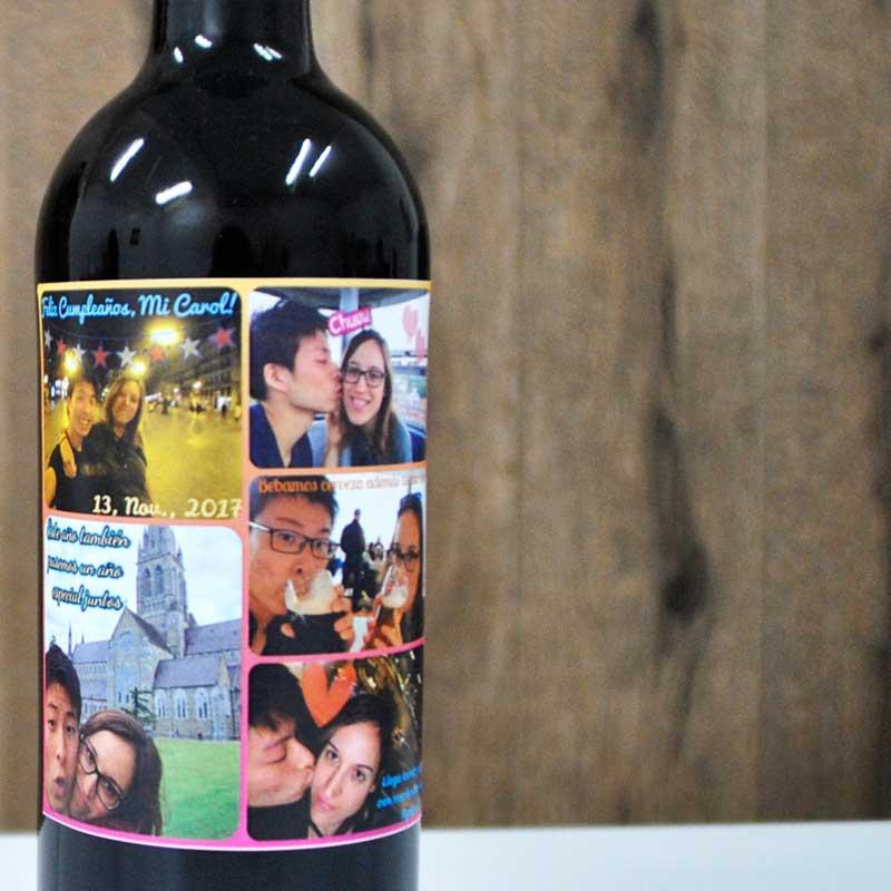 Botella de vino personalizada con un collage de fotos