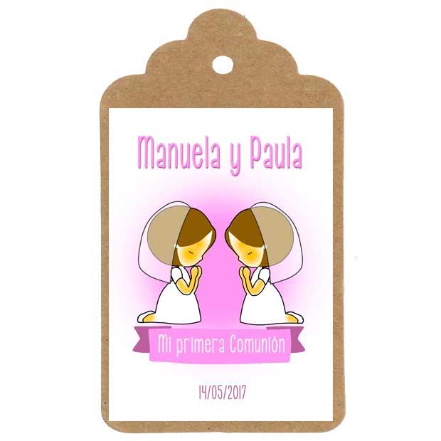 Etiqueta personalizada para la comunión de gemelas