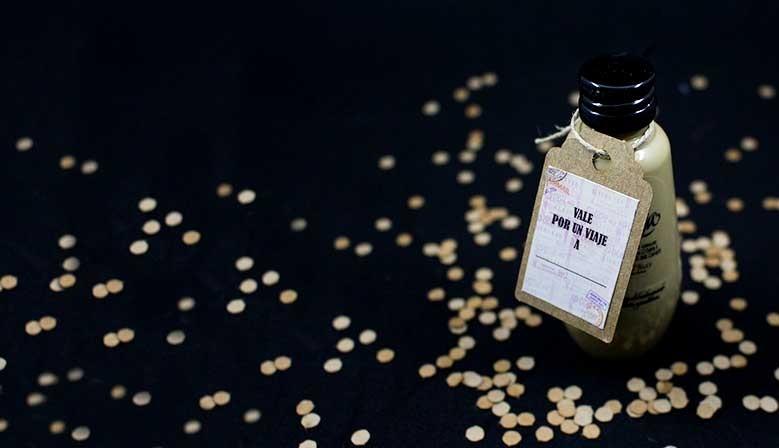 Botellita Ruavieja personalizada con etiqueta para regalar
